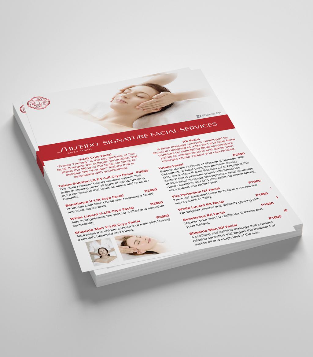 Shiseido Signature Facial Services Flyer